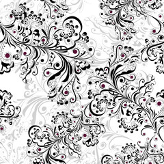 Seamless floral pattern black and white 2