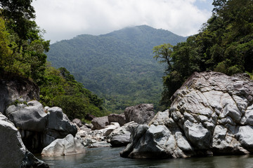 rocky shores of the Cangrejal river in Honduras