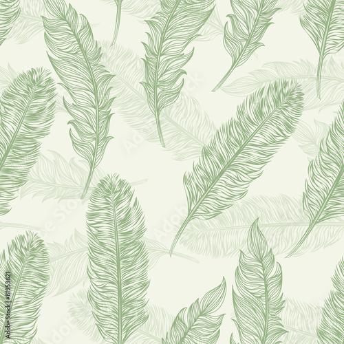 Vector seamless pattern feathers bird - 81953621