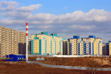 Construction of houses on the outskirts of town