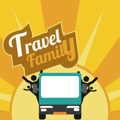 family travel, all by car over yellow textured background