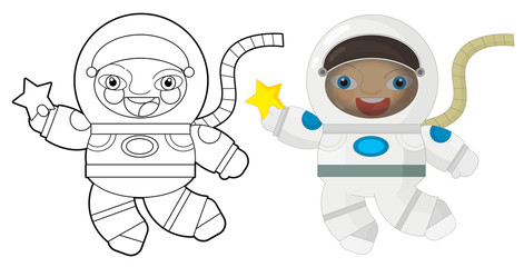 Cartoon character - astronaut - coloring page
