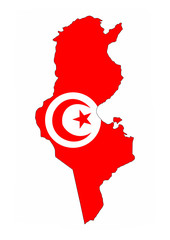 tunisia flag map
