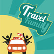family travel, all by car over yellow and green textured backgro