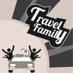 family travel, all by car over gray and white textured backgroun
