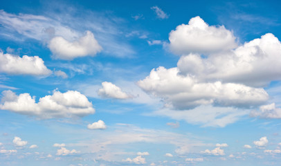 Perfect blue sky with clouds. Nature background
