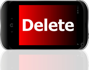 Web development concept: smartphone with word delete vector