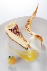 gourmet cheese cake plated dessert