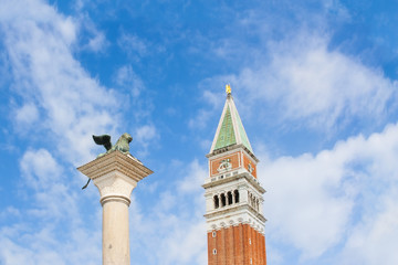 St. mark's square column and campanile