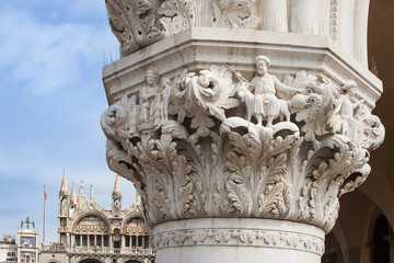 Ducal Doge's Palace Venice detail of a capital