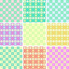 Colorful pattern collection vector set seamless backgrounds.