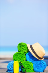 Beach and summer vacation accessories concept - close-up of