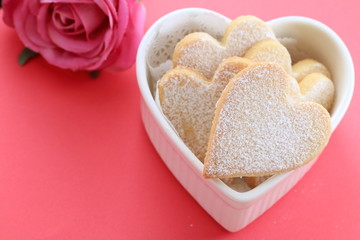Heart shaped cookies in a heart shaped cocotte