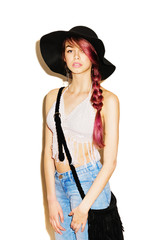 Trendy boho fashion woman in fedora and crochet top