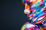 Fototapety Portrait of the bright beautiful girl with art colorful make-up
