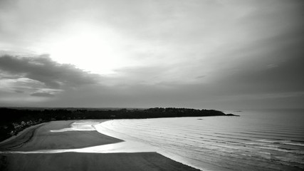 Time-lapse scenery in black and white of a bay