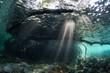 Leinwanddruck Bild - Beams of Light and Mangrove Underwater