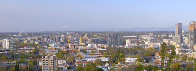 Panoramic view of the industrial area Portland Oregon.