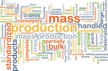 Mass production wordcloud concept illustration