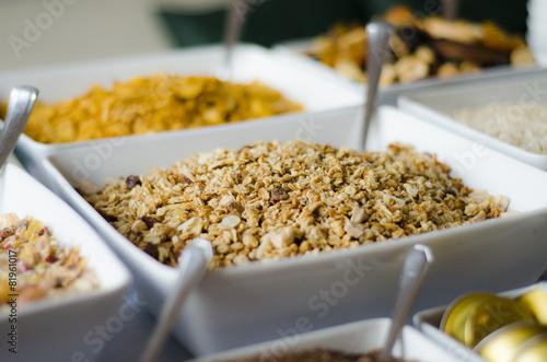 Leinwanddruck Bild Buffet Frühstücksmüsli