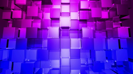 Blue gradient Cubes Squares background, seamless looping