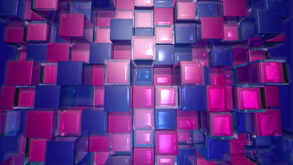 Blue and red Cubes Squares background, seamless looping