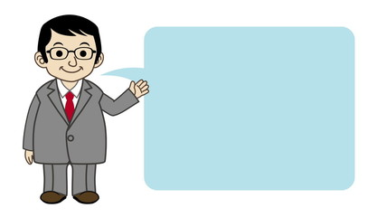 Businessman explaining by Speech Bubble