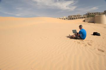 Business man in a desert