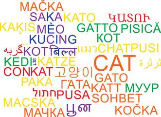 Cat multilanguage wordcloud background concept