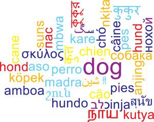 Dog multilanguage wordcloud background concept