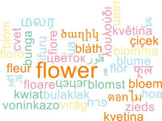 Flower multilanguage wordcloud background concept