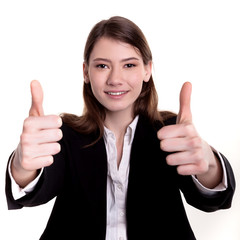 Businesswoman or student showing thumbs up sign stock image