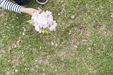 Girl has flowers picked in the park