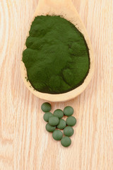 Closeup  organic spirulina algae