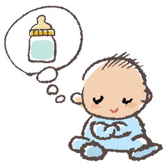 赤ちゃん ミルク Baby thinking of milk
