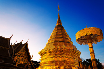 Golden Stupa of Wat Phrathat Doi Suthep at Chiang Mai, Thailand.