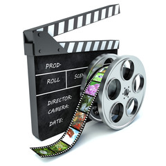 3d illustration of cinema clap and film reel, over white backgro