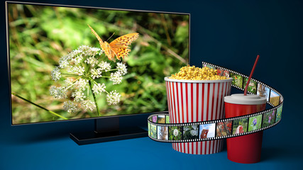 Multimedia display for watching movies