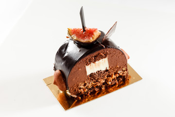 chocolate dessert with fig
