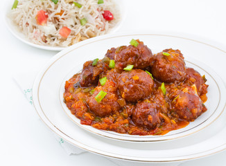Vegetable Manchurian and Fried Rice