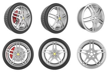Set of car wheels, discs