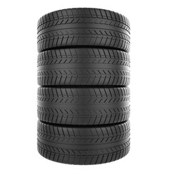 Stack of automotive rubber isolated on white background.