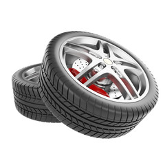Sports car wheels isolated on white background.