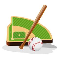 Baseball Field and Ball Vector Illustration