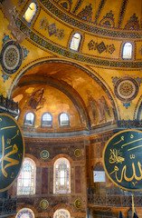 Interior of the Hagia Sophia with Islamic and elements on the to