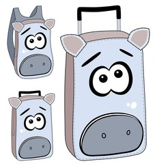 Cartoon suitcases and backpack (available as vector too)