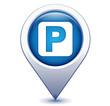parking automobiles sur marqueur géolocalisation bleu - 81965497