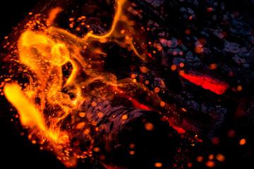 Burning fire flame. Defocused background