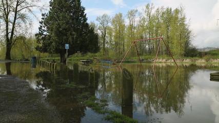 Riverside Playground Flooding dolly shot