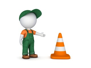 3d small person and traffic cone.
